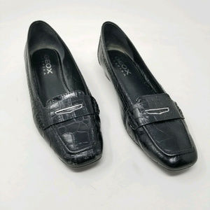 Geox Respira Leather Loafers Croc Pattern